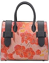 Pifuren Womens Floral Handbag Designer Top Handle Satchel Flower Purses (17006, Red Peony Flower)