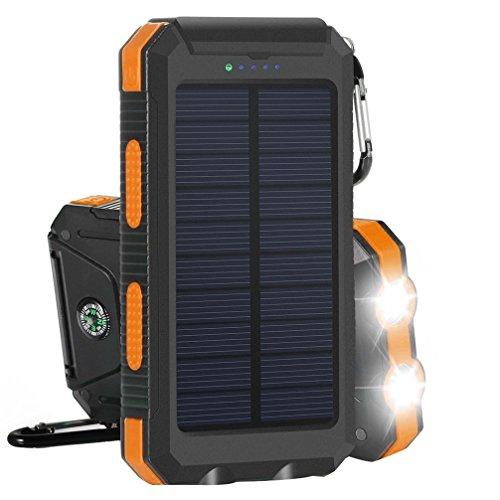 10000mAh Solar Power Bank Solar Ladegerät Dual USB-Solar Charger SunPower mit 2 LED-Taschenlampe,Wasserfest,staubdicht und stoßfest Externer Akku mit Kompass und Karabiner für Handy(Orange)