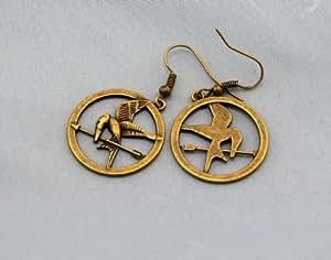 Fashion-Boucles d'Oreilles en Bronze Antique en Forme de Motif de Hunger Games Ridicule Bird Style Tendance Chic