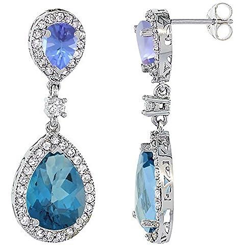 Oro bianco 14 k con topazio blu Londra &-Orecchini con pendente a goccia con zaffiro e Tanzanite & Diamond, colore: bianco - 14k Oro Bianco Tanzanite Goccia