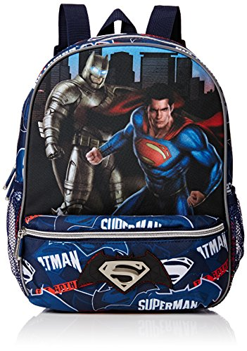 Batman & Superman Heroes Mochila Infantil con Bolsillo, Color Azul