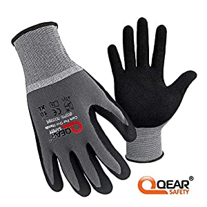 Qear Safety – 3 pares de guantes de trabajo (microfibra y nitrilo), Large/9, gris, 2000
