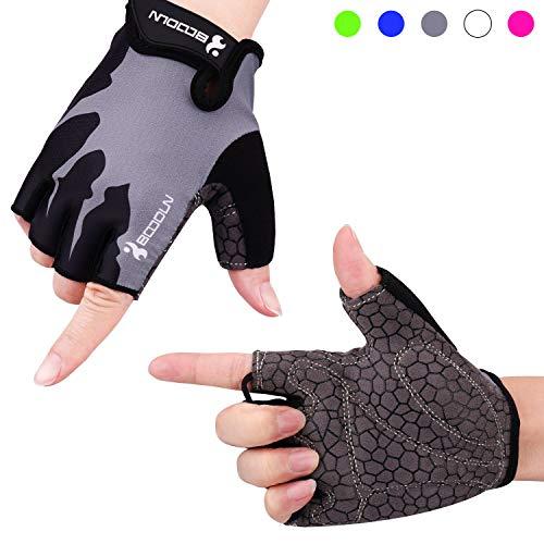 boildeg Fahrradhandschuhe Radsporthandschuhe rutschfeste und stoßdämpfende Mountainbike Handschuhe mit Signalfarbe geeiget Unisex Herren Damen (Grau, L)