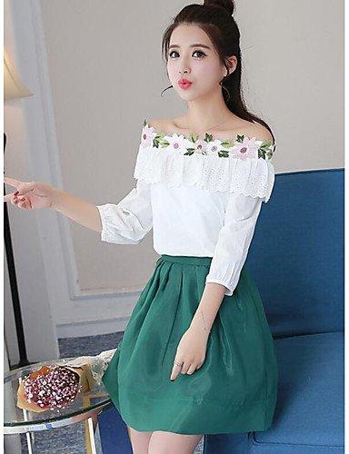 Xuanku La Mujer'S Vestir Soak Off T-Shirt Verano Trajes De Falda, Sólido De Manga Corta Con Cuello Redondo, L, Verde - Faldas Vestir De