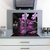 FTB Gsmarkt Herdabdeckplatten Schneidebrett Set 2x30x52 Glasbild Orchidee