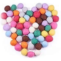 Pandahall Elite - 60 Bolas de Pompones de Colores, 10 Colores Mezclados, Redondas, de Fieltro, para Bricolaje, Muñeca, Manualidades, Decoración de Fiesta, Aproximadamente 20 mm de Diámetro