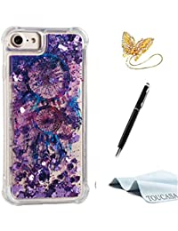 Funda iPhone 8,Funda iPhone 7,TOUCASA Glitter Brillante Liquida Transparente TPU Silicona,Suave Gel Protectora Carcasa,Teléfono Smartphone Funda Móvil Case Líquido Quicksand Shock-Absorción Anti-arañazos Brillante Case Cover para Apple iPhone 8/iPhone 7-Color Atrapasueños