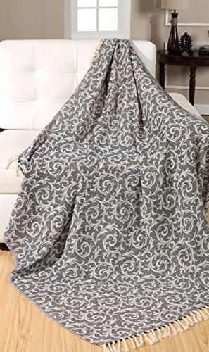 Ehc 100% vintage scroll reversibile copriletto soffice coperta per divano, 125x 150cms, in cotone, nero, singolo