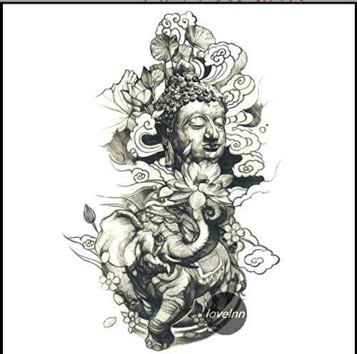 Etiqueta engomada del tatuaje CQMYG cabeza de Buda loto elefante dios personalidad del tatuaje falso impermeable como se muestra en la Figura 210x290mm