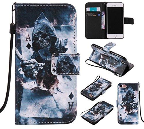 Battery Charging Pod (Nancen Apple iPhone 7 / 8 (4,7 Zoll) Hülle / Handyhülle, Painted Persönlichkeit PU Leder Tasche Schutzhülle Case Lederhülle Flip Cover mit Standfunktion, zwei Kartenfächer und Eine Brieftasche Etui [Gott des Todes])