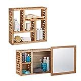 2 tlg. Badregal Set Walnuss, Wandregal mit 5 Fächern, Badezimmerschrank mit Spiegel, Holzschrank, natur, geöltes Holz
