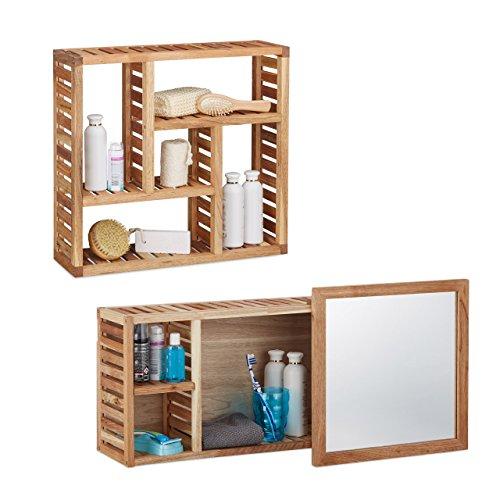 2 tlg. Badregal Set Walnuss, Wandregal mit 5 Fächern, Badezimmerschrank mit Spiegel, Holzschrank, natur, geöltes Holz -