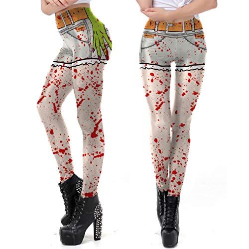 URSING Damen Lange Hose Beiläufige glückliche Halloween Geist Gamaschen Leggings Skinny Stretchy Hohe Taille Bleistifthose Strumpfhosen Schlank Slim Fit Stretchhose Streetwear (Grün,S)