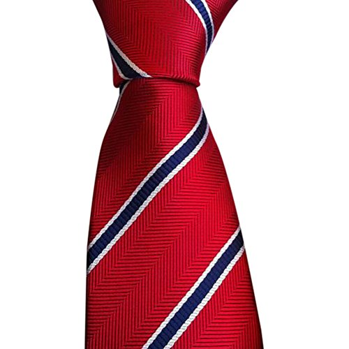 Zibuyu New Red Blue Stripes Silk Tie Jacquard Woven Classic Necktie Men's Tie