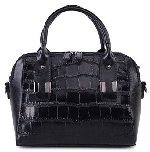 Xinmaoyuan Borse donna Vacchetta Ladies spalla croce diagonale borsetta Casual borsette in cuoio Nero