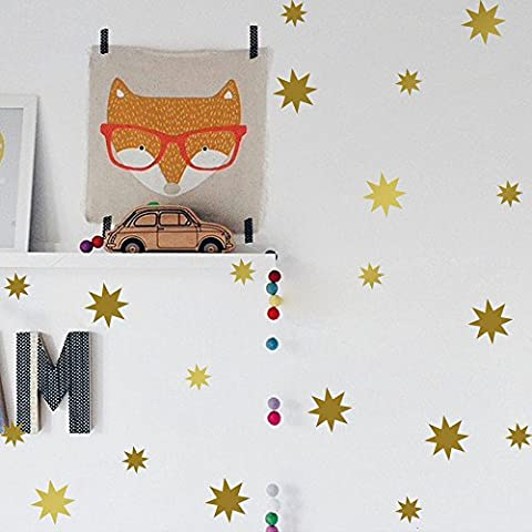 Vinilo navidad copo de nieve Estrellas Patrón pegatinas de pared de 190pcs, vinilo, dorado,