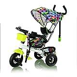 Fascol® 3 en 1 Triciclo para niños, cochecito niños triciclo niño bicicleta Trike baby - color verde