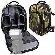 DURAGADGET Mochila Camuflaje Para Flash YONGNUO YN-568EX YN568 / APEMAN E-TTL / K&F Concept KF570 / Yongnuo YN-568EX II / Yongnuo YN565EX / Neewer NW-561 Con Compartimentos Desmontables + Funda Impermeable