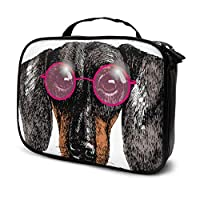 Dachshund Dog Sunglass Fashion Puppy Travel Makeup Case Toiletries Bag for Men Travel Toiletry Bag Small Multifunction Printed Pouch for Women