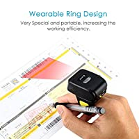 Portable Ring 1D 2D QR Barcode Scanner,Wearable Wireless Finger Mini Bar Code Reader Compatible for Windows, Mac OS, Android 4.0+, iOS Support Scan QR PDF417 DataMatrix on Screen and Paper