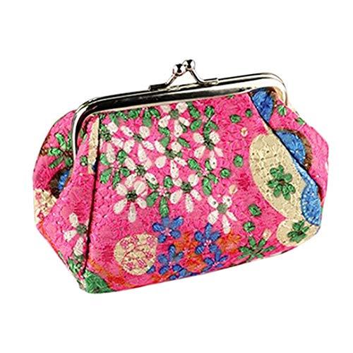CAheadY Vintage Floral Print Kuss Schließe Frauen Mini Pouch Geld Tasche Geldbörse Rose Red