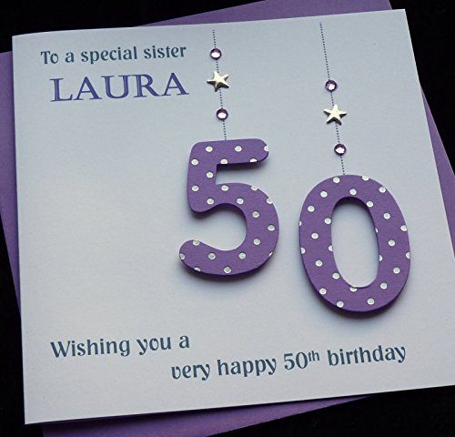Birthday Card Handmade Personalised Purple 50 Number