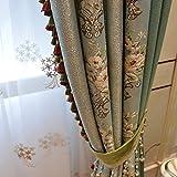 XUEPING Villa Amerikanischer Vorhang Luxus Jacquard Europäischer Vorhang Wohnzimmer luxuriös Atmosphäre Schlafzimmer Vorhang Schallschutz Schatten Bodenvorhang grau Grün (größe : W200×H250)