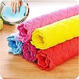 Schwamm , Yogogo Hocheffiziente Anti-fett Farbe Geschirrtuch Bambusfaser Waschen Handtuch Magie Küche Reinigung Wischen Lappen (Zufällig)