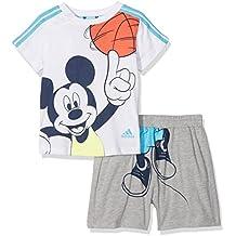 adidas INF DY MIC SS - Chándal para niños, color gris / azul / blanco / naranja