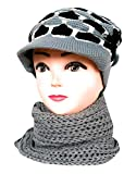 Women Combo Winter Woollen Cap with Muffler with beauty Fully Desgin By Vishal_Co. Grey (Pack OF 1) For Girls/Women Muffler