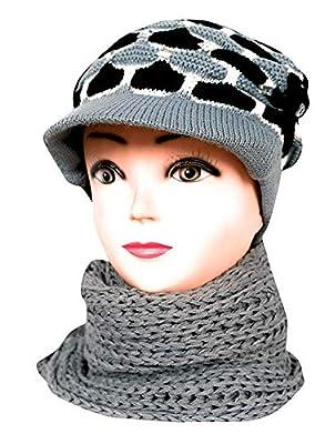 Women Combo Winter Woollen Cap with Muffler with beauty Fully Desgin By Vishal_Co. Grey (Pack OF 1) For Girls/Women Muffler