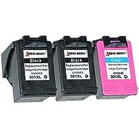 Logic-Seek® - Cartucce per HP 301xl nero HC, 20 ml, compatibile con CH563EE, colore nero (06) - 3x set con supporto