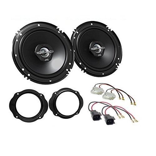 LSP-Set: JVC - CS-J620X - 300Watt / 30Watt RMS 2-Wege Koaxial - Lautsprecher-Paar + Lautsprecherkabel und Ringe für •Ford Focus ab 2004 •Ford Focus C-Max •Ford Kuga •Ford Fiesta ab 2008 8-wege-koaxial Kabel
