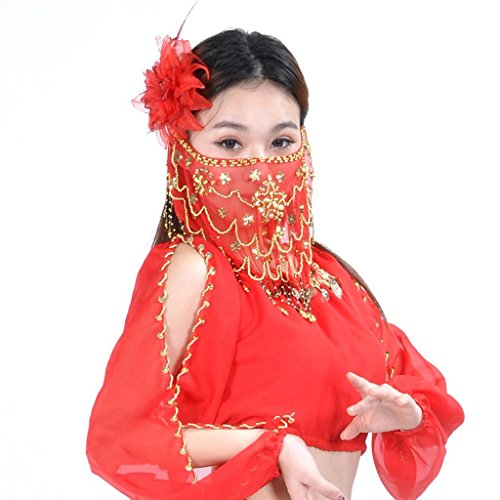 bal Gesicht Schleier Mit Perlen Halloween Kostüm Zubehör Damen Plum Blume Stil . Red . 2 (Zwei-gesicht Halloween-kostüme)