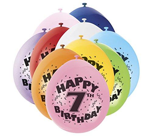 9'de látex variados 7mo cumpleaños feliz globos, Paquete de 10