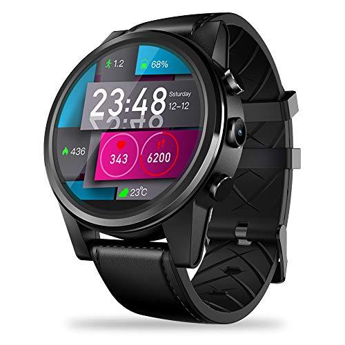 JS Smart Watch de 4G LTE, 7.1.1 Quad Core 16GB + 1GB 5MP Cámara 600mAh 1,6 Pulgadas Pantalla de Cristal con Pantalla multitáctil LTPS Reloj Deportivo para iOS/Android,Black