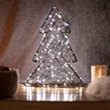 SnowEra Lampada Decorativa a LED in Metallo/Illuminazione Natalizia a Forma di Albero Nero con 140 Micro LED | Colore Luce: Bianco Caldo