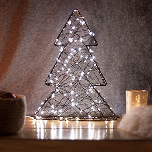 SnowEra - Décoration lumineuse / Illumination de Noël en Métal avec 140 micro-LED - Couleur LED : Blanc chaud - Forme : Arbre en métal noir