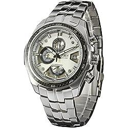 LEORX Premium Men's Date Stainless Steel Analog Date Quartz Wrist Watch - 1 Piece