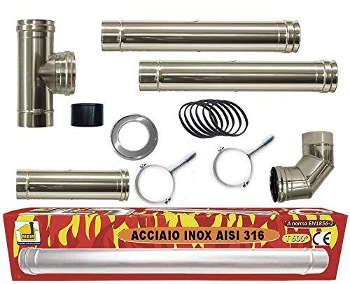 Kit stufa a pellet tubo 80 mm tubi acciaio INOX 316 L NO nero resistenti 600 ° CE Made in Italy 1856-2