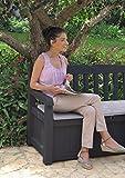 Keter Gartenbank 2-Sitzer, Truhenbank Garten Eden, Graue Gartenbank mit Truhe, regenfest, 265L