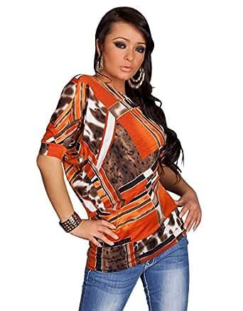 4273 Fashion4Young Damen Asymmetrisches Shirt mit grafischem Muster verfügbar in 4 Farben 2 Größen (S/M 36/38, Orange Multicolor)