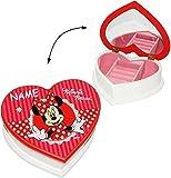 Unbekannt Schmuckkasten aus Holz - Herzform -  Disney Minnie Mouse  - incl. Name - mit Spiegel - für Mädchen / Kinder - z.B. für Schmuck - Holzschatulle - Schmuckbox ..