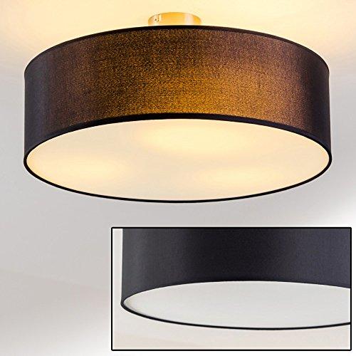 Plafoniera circolare paralume in tessuto nero design moderno