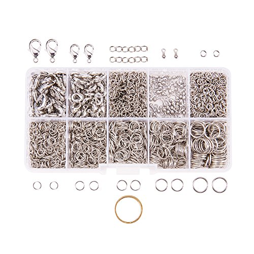 PandaHall Elite 1Box Über 1580 Pcs Jewelry Making Findings Kits mit Hummer Greifer Clasps Twist Chain Links Drop endet 22 Gauge Open Sprung Ringe 4mm 5mm 6mm 7mm 8mm 10mm und Jump Ring Open Tool Platin (Ring-tool)