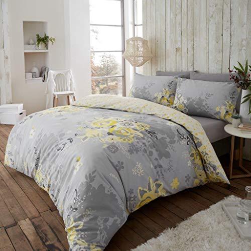 London Bedding Eaton 100% Coton brossé Thermique en Flanelle avec Housse de Couette Taie d'oreiller Parure de lit (Eaton Moutarde, King)