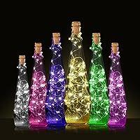 Lámpara de botella de vino de HKFV, diseño creativo con corcho y 10 LEDs para una fiesta colorida, Unisex, Multicolor, String length:50cm