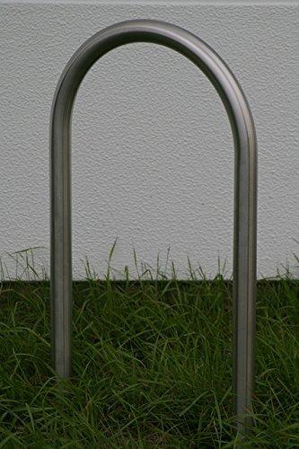 1 Edelstahlanlehnbügel 460 mm breit aus Rundrohr Ø42,4mm, Fahrradparker, Fahrradanlehnbügel, Anlehnbügel Edelstahl, zum Einbetonieren, K240 geschliffen -