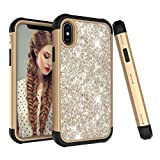 Für iPhone XS Max Hülle , 2018 Glitzer Handytasche Mädchen Glitter Sparkle Bling Strass Hart PC Hardcase Bumper Cover for iPhone XS Max (Gold)
