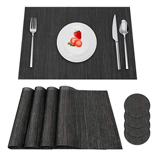 HAUSPROFI 4er Set PVC Platzsets, Tischsets, Platzdeckchen, Tischmatte, Platz-Matten mit 4 Rund Getränkeuntersetzer für Küche (45x30cm, Schwarz) Set 4 Plätze
